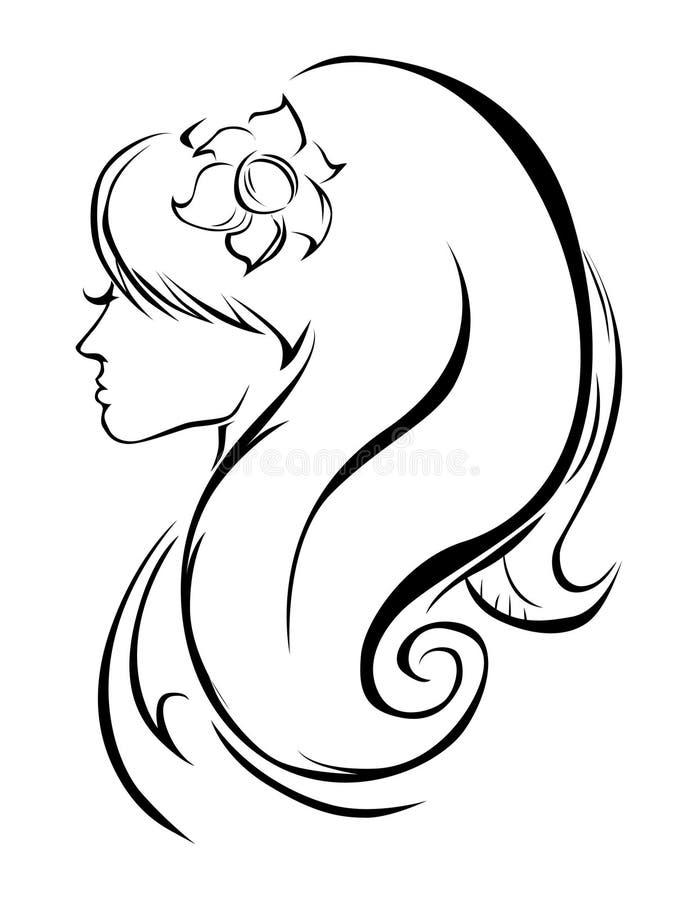 Bella siluetta della ragazza royalty illustrazione gratis