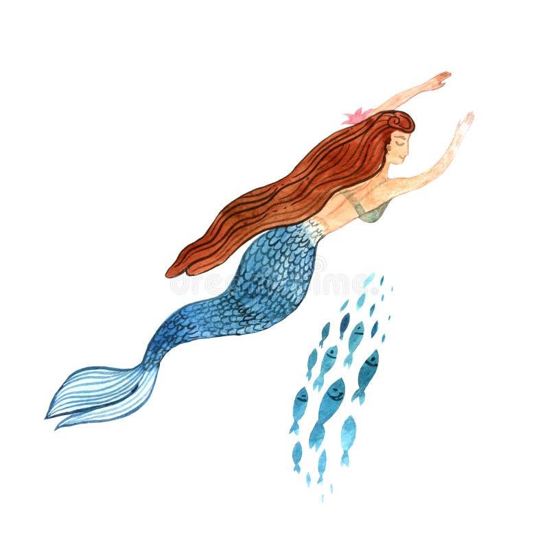 Bella sirena disegnata a mano dell'acquerello dell'illustrazione illustrazione di stock