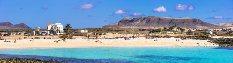 Bella spiaggia del Concha della La in EL Cotillo Isola di Fuerteventura fotografia stock