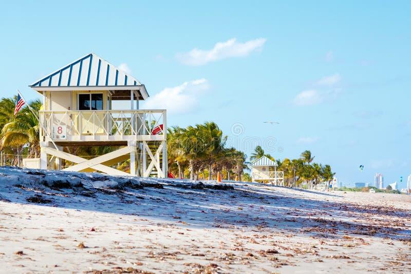 Bella spiaggia del parco di Crandon situata a Key Biscayne a Miami fotografie stock
