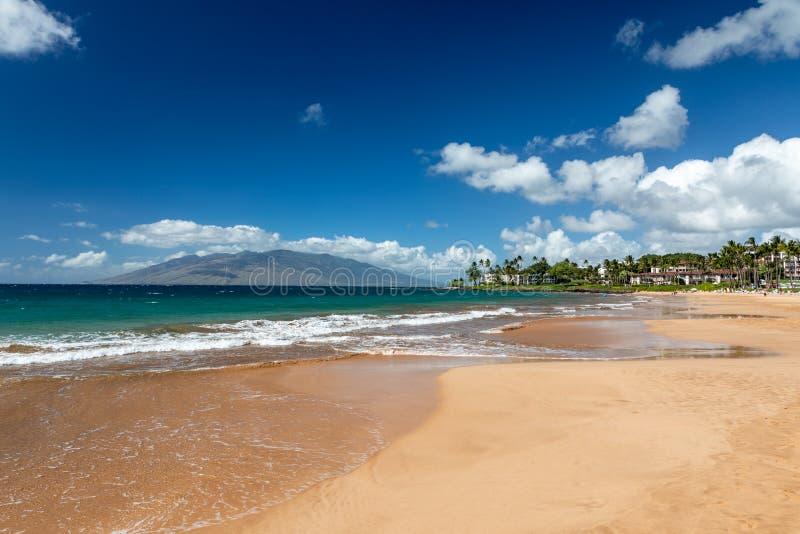 Bella spiaggia di Wailea sull'isola di Maui fotografia stock libera da diritti