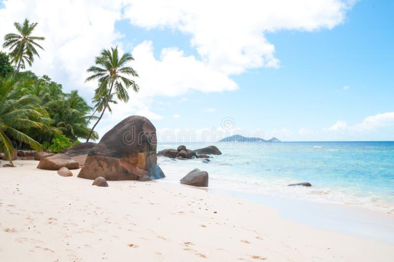 bella spiaggia in Seychelles fotografia stock libera da diritti
