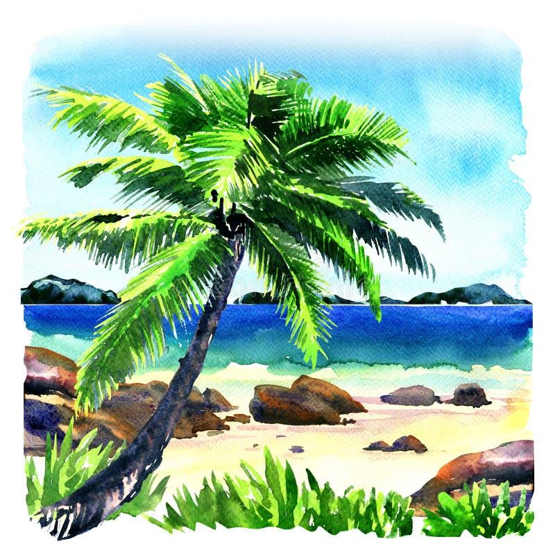 Bella spiaggia tropicale con la palma, panorama di vista sul mare, illustrazione dell'acquerello illustrazione vettoriale