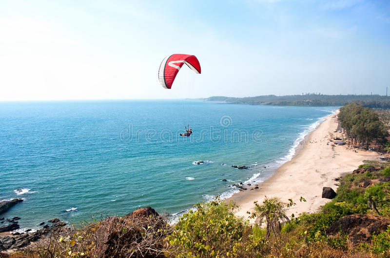 Bella spiaggia tropicale, Goa, India fotografia stock