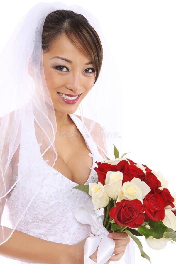 Bella sposa asiatica alla cerimonia nuziale immagine stock