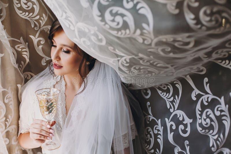 Bella sposa castana alla moda in abito di seta e velo che incoraggiano con il vetro di champagne di mattina alla finestra Ritratt fotografie stock