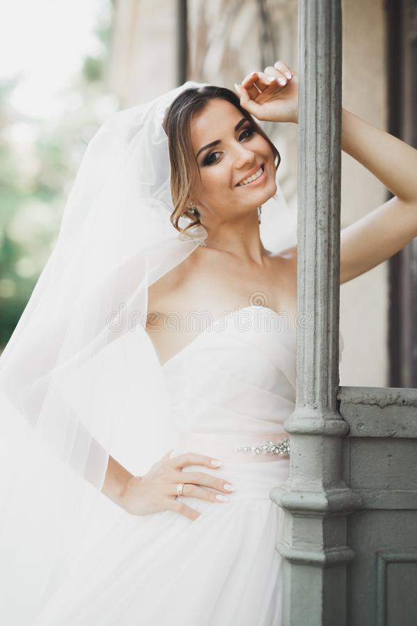 Bella sposa che posa in vestito da sposa all'aperto immagine stock libera da diritti