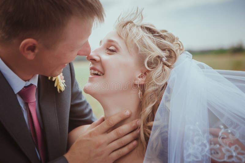 Bella sposa e sposo che si levano in piedi nell'erba e nel baciare Tiro di modo delle coppie di nozze immagini stock libere da diritti