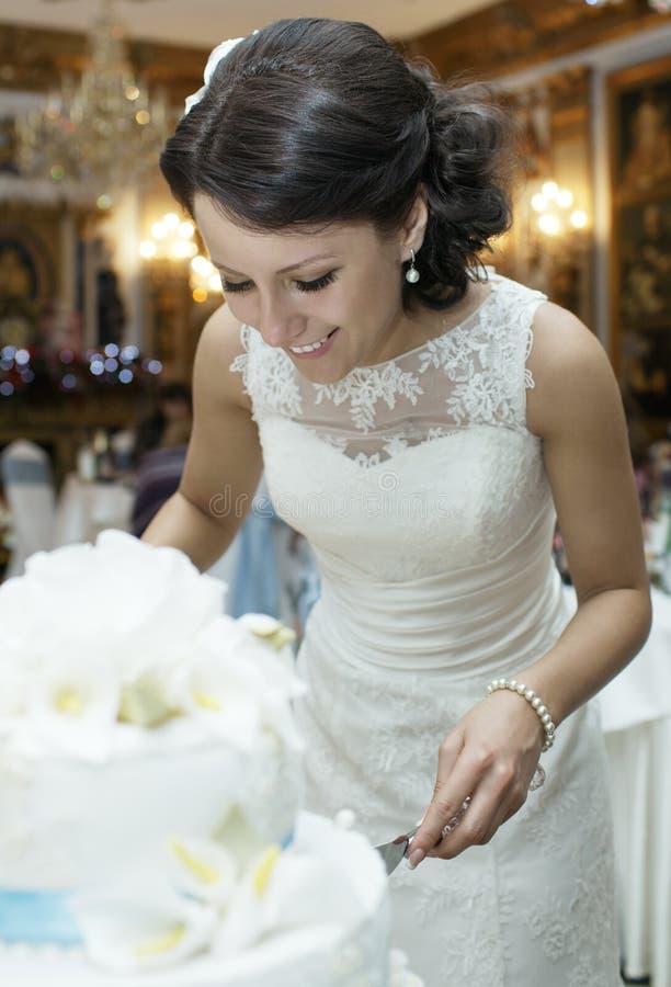 Bella sposa sorridente che taglia la torta nunziale fotografia stock libera da diritti