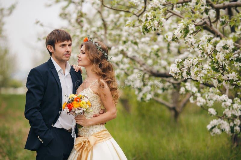 Bella sposa in un vestito da sposa nel giardino fotografia stock libera da diritti
