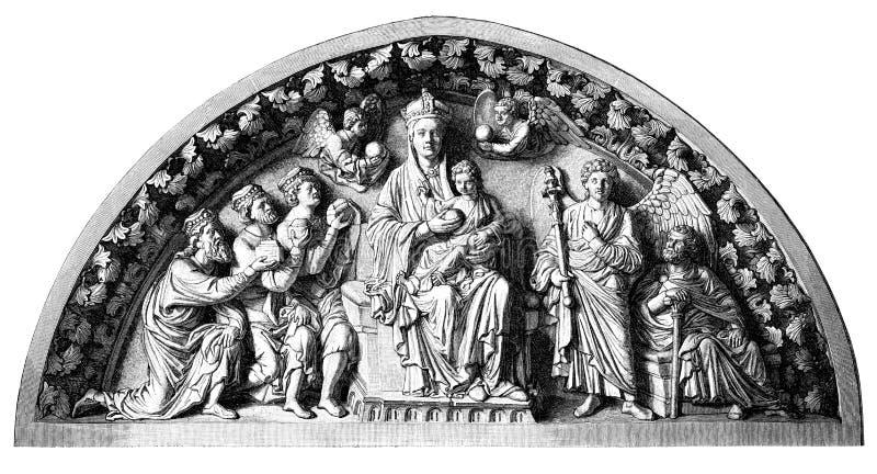 Bella stampa del woodblock di Jesus e di Mary illustrazione di stock