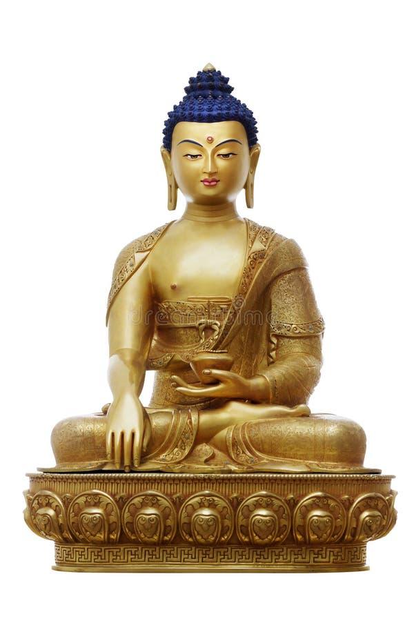 Bella statua dorata classica brillante di Buddha Gautama con gli occhi aperti isolati sui precedenti bianchi fotografie stock libere da diritti