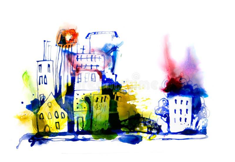 Bella strada di citt? moderna con i grattacieli, illustrazione fatta degli effetti acquerelli Raccolta strutturata acquerella immagini stock