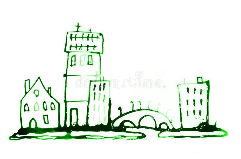 Bella strada di citt? moderna con i grattacieli, illustrazione fatta degli effetti acquerelli Raccolta strutturata acquerella immagini stock libere da diritti