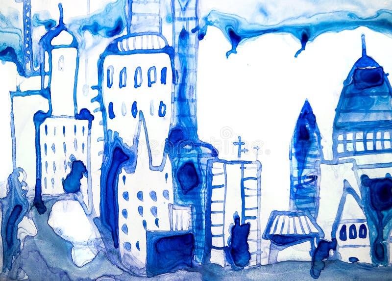 Bella strada di citt? moderna con i grattacieli, illustrazione fatta degli effetti acquerelli Raccolta strutturata acquerella fotografie stock libere da diritti