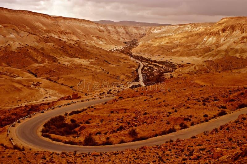 Bella strada nel deserto, paesaggio fotografie stock libere da diritti