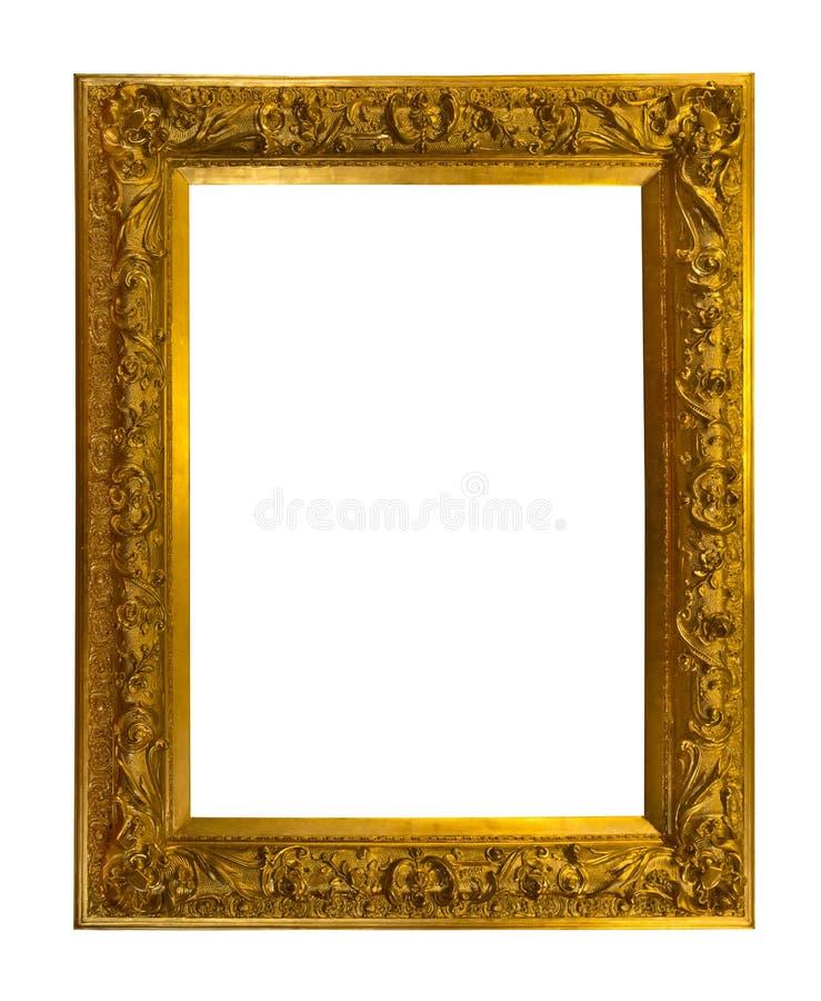 Bella struttura antica dorata isolata su bianco fotografia stock