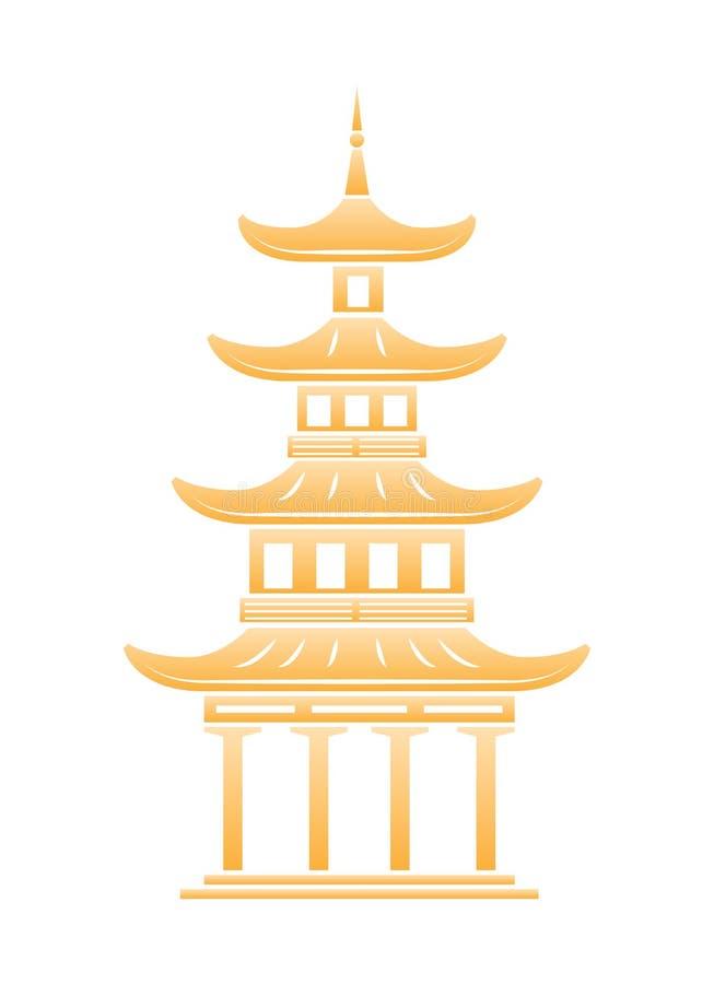 Bella struttura architettonica, punto di riferimento cinese torre Multi-a file, tempio buddista illustrazione vettoriale