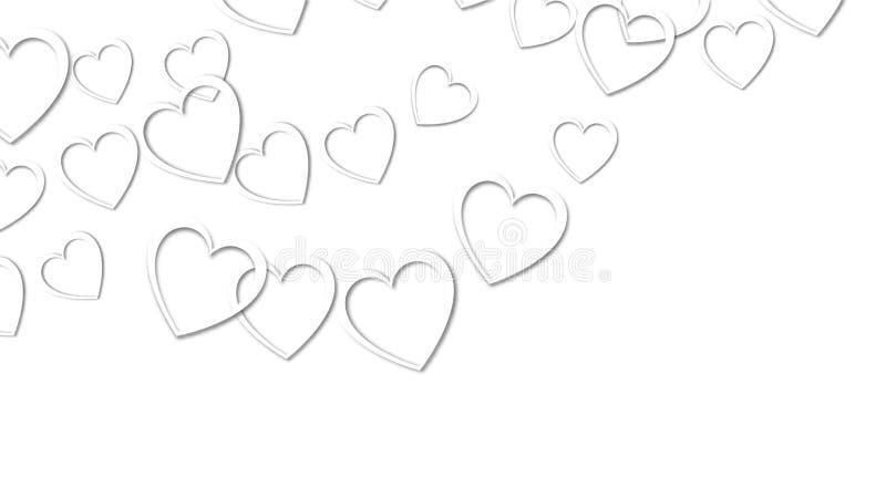Bella struttura astratta dei cuori bianchi con le ombre per il San Valentino felice su un fondo bianco Illustrazione di vettore royalty illustrazione gratis