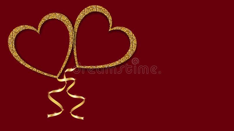 Bella struttura astratta dei palloni brillanti dorati di amore sotto forma dei cuori e di un nastro dorato per il San Valentino f royalty illustrazione gratis