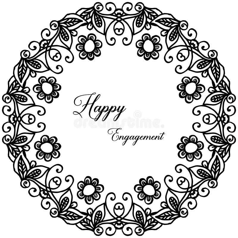 Bella struttura del fiore, bianco nero di colore, per l'impegno felice della carta di progettazione Vettore illustrazione di stock