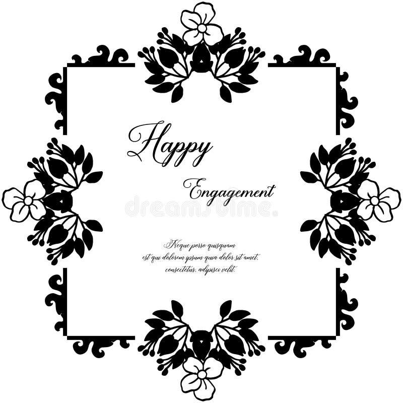 Bella struttura del fiore del modello, carta dell'invito della decorazione, cartolina d'auguri, con iscrizione dell'impegno felic illustrazione vettoriale