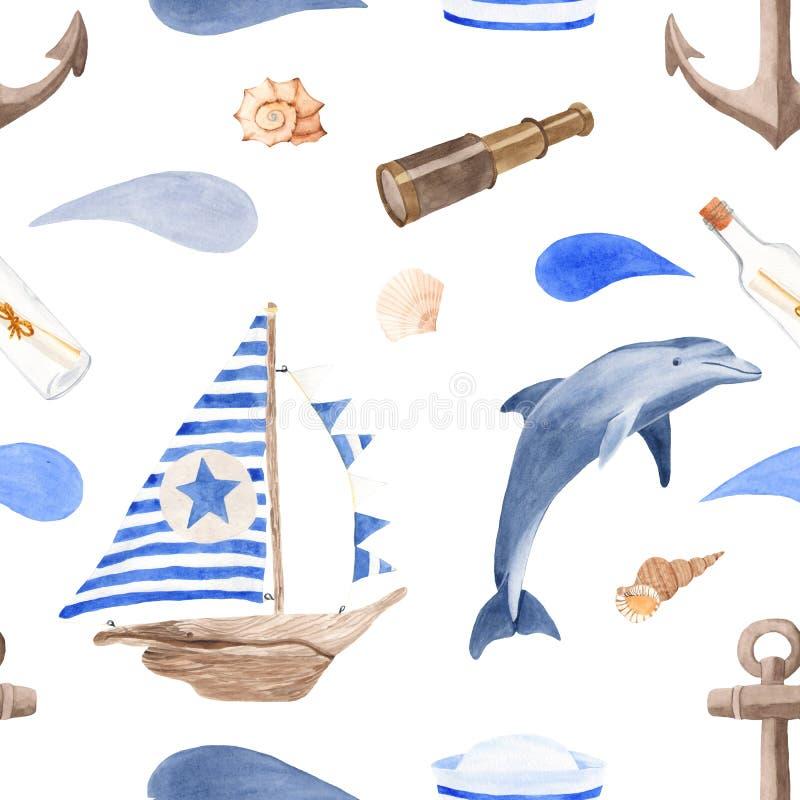 Bella struttura dell'acquerello per il viaggio nautico di estate e di progettazione illustrazione vettoriale