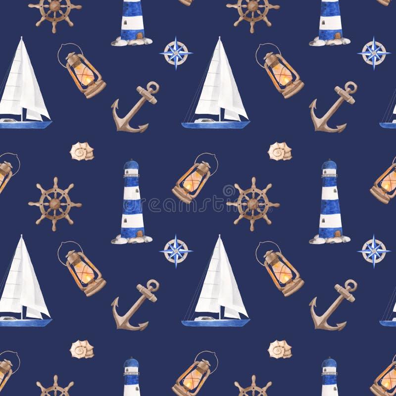Bella struttura dell'acquerello per il viaggio nautico di estate e di progettazione royalty illustrazione gratis