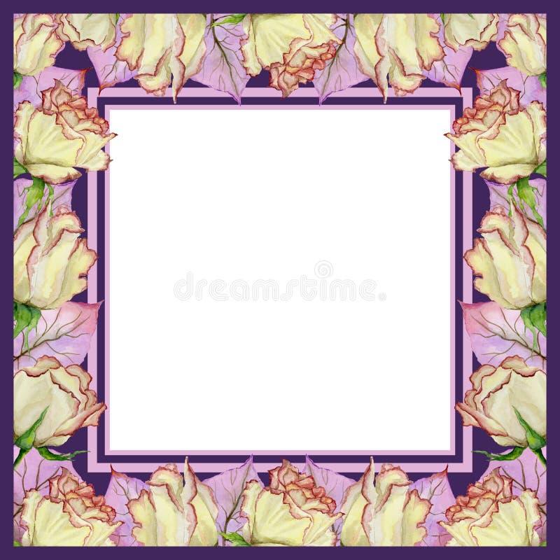 Bella struttura della molla fatta dei fiori e delle foglie rosa con le vene Struttura rosa e porpora quadrata con fondo bianco pe royalty illustrazione gratis