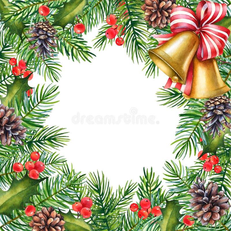 Bella struttura di Natale con i rami dell'acquerello di agrifoglio, di pinу e delle campane su fondo bianco illustrazione di stock