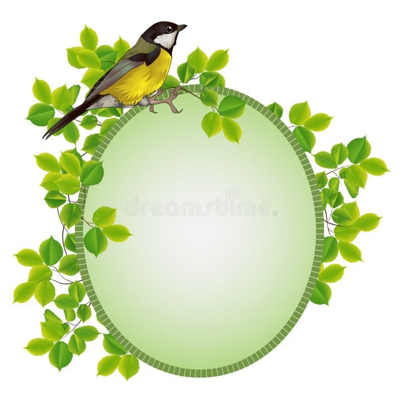 Bella struttura nel telaio di fogliame con un uccello illustrazione di stock