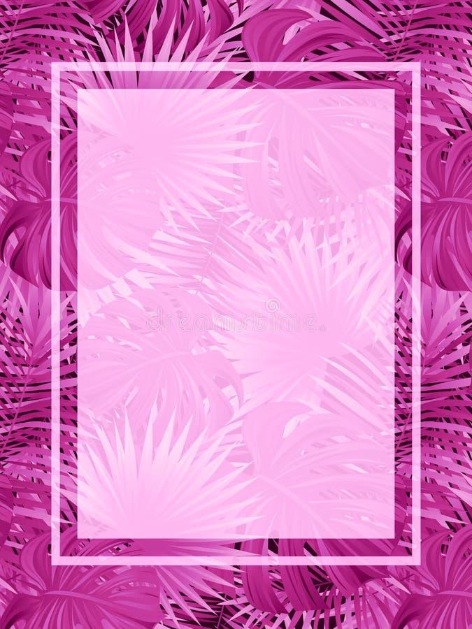 Bella struttura tropicale di vettore manifesto esotico di vettore con il posto per testo Priorità bassa tropicale Piante e foglie royalty illustrazione gratis