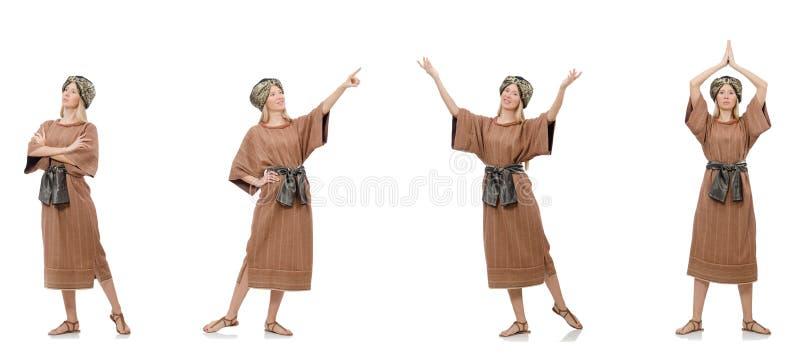 Bella suora religiosa isolata su bianco fotografia stock libera da diritti