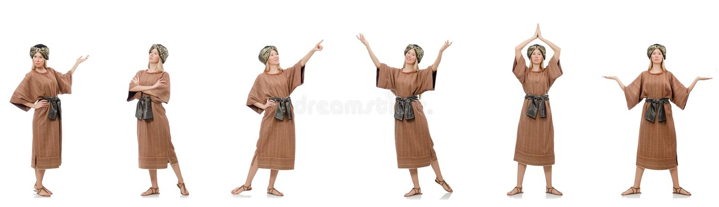 Bella suora religiosa isolata su bianco fotografie stock libere da diritti