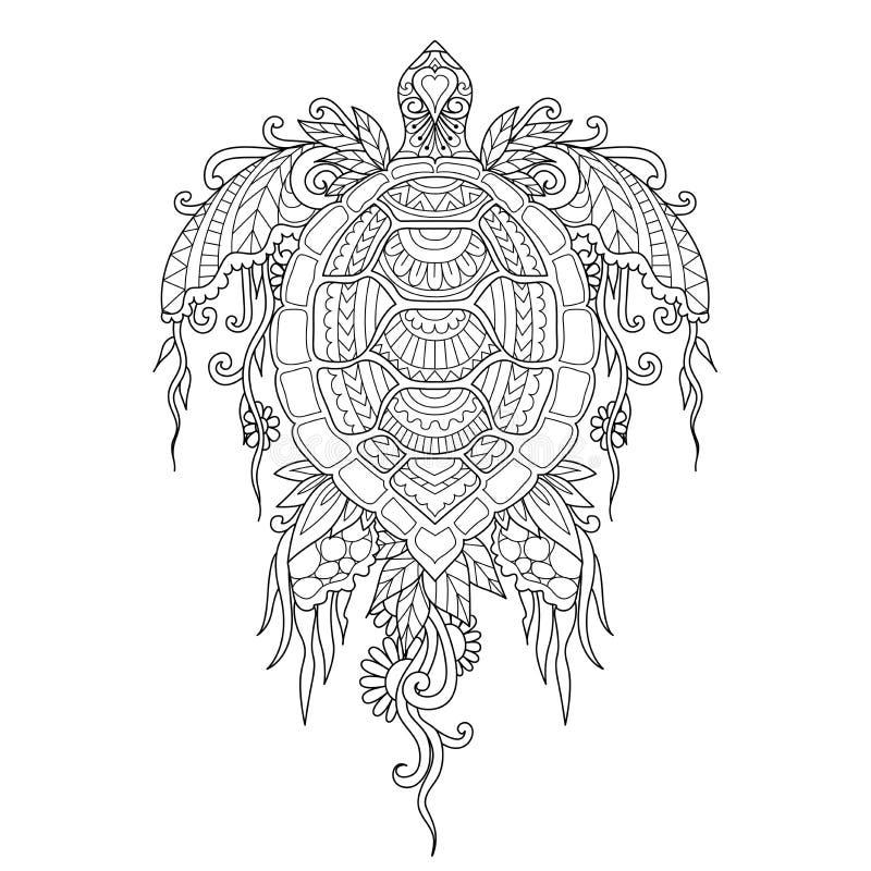 Bella tartaruga con i coralli ed alga sul corpo per l'elemento e libro da colorare di progettazione, pagina di coloritura o immag illustrazione vettoriale