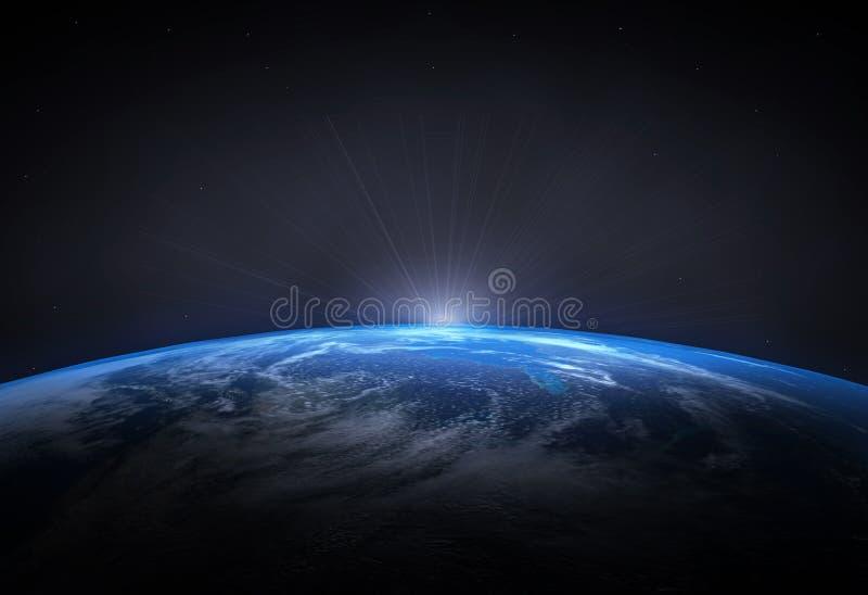 Bella terra del pianeta ed aumentare Sun fotografia stock