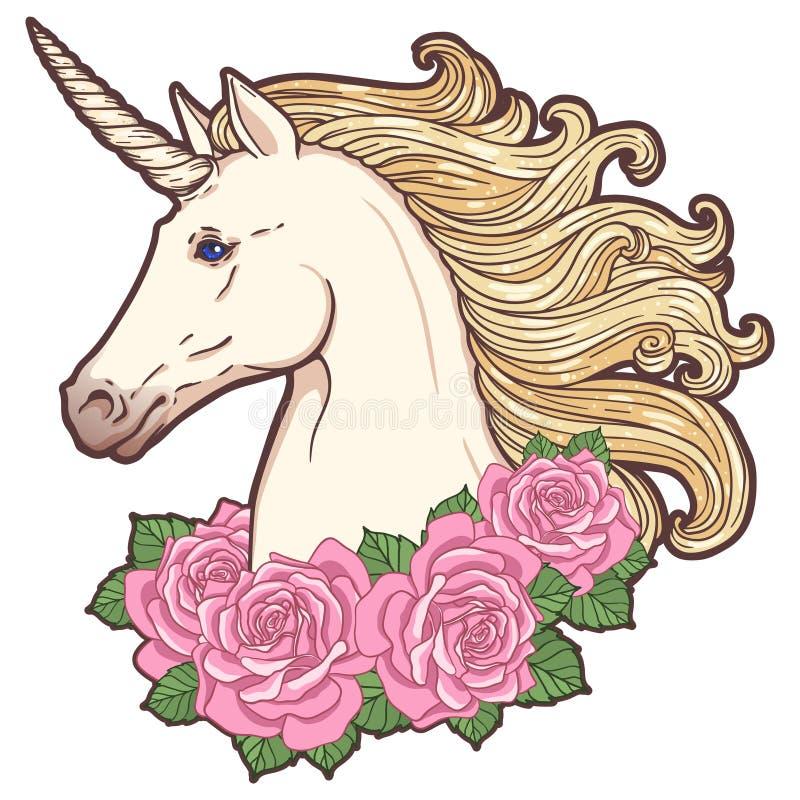 Bella testa dell'unicorno con le rose royalty illustrazione gratis