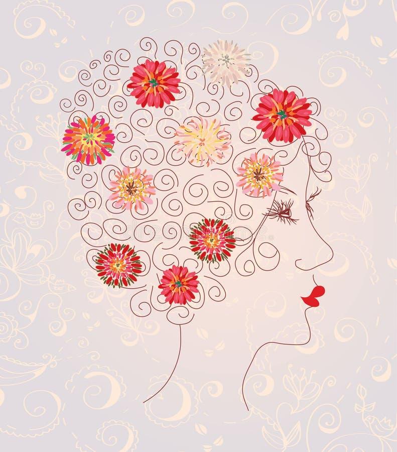 Bella testa della donna sul reticolo floreale illustrazione di stock