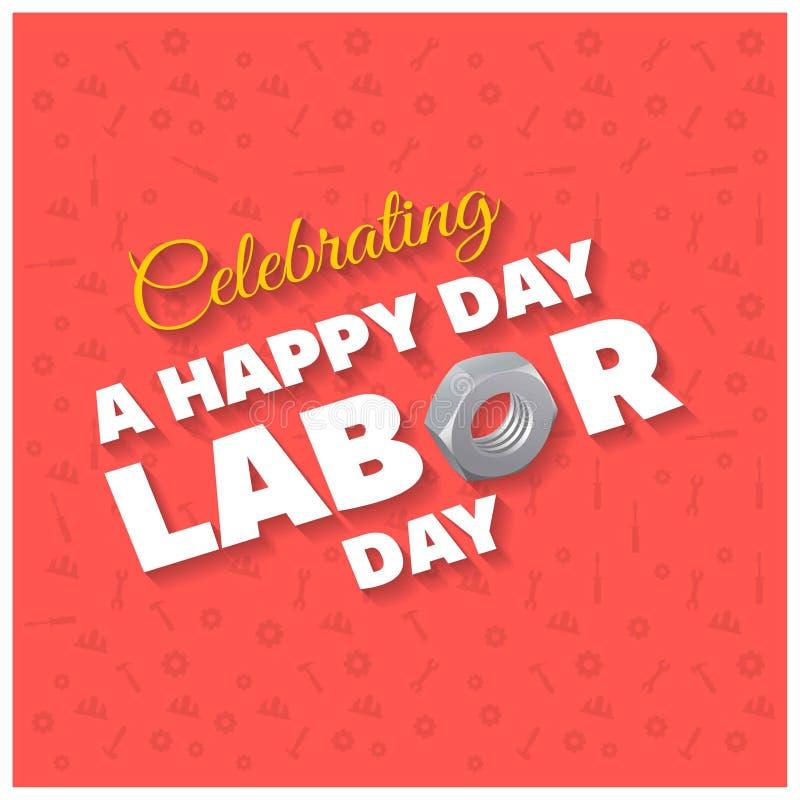 Bella tipografia di festa del lavoro felice su un Patterened rosso Backgro illustrazione vettoriale
