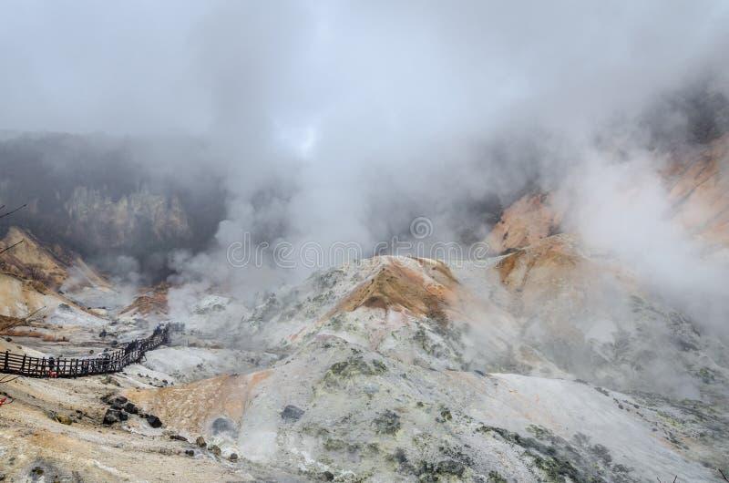 Bella valle di Jigokudani o del ` della valle dell'inferno del ` fotografie stock libere da diritti