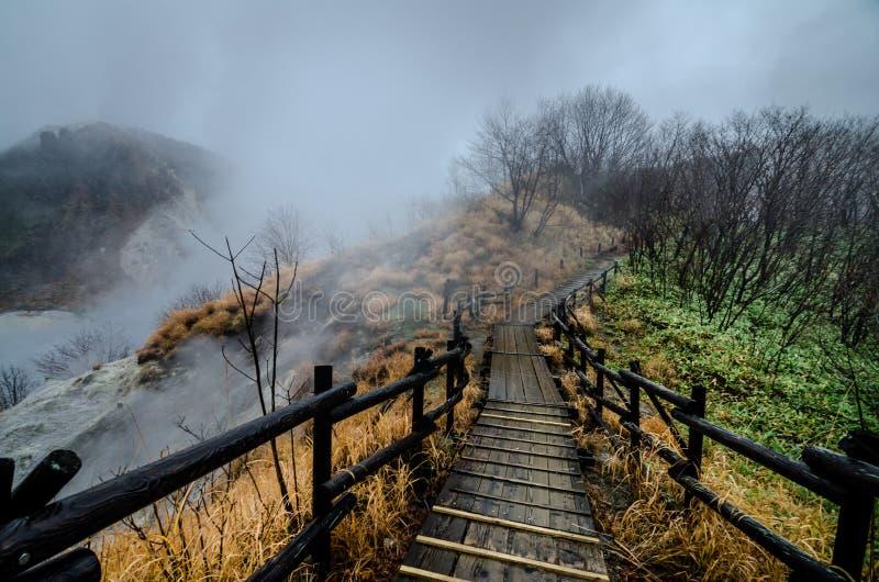 Bella valle di Jigokudani o del ` della valle dell'inferno del ` fotografia stock libera da diritti