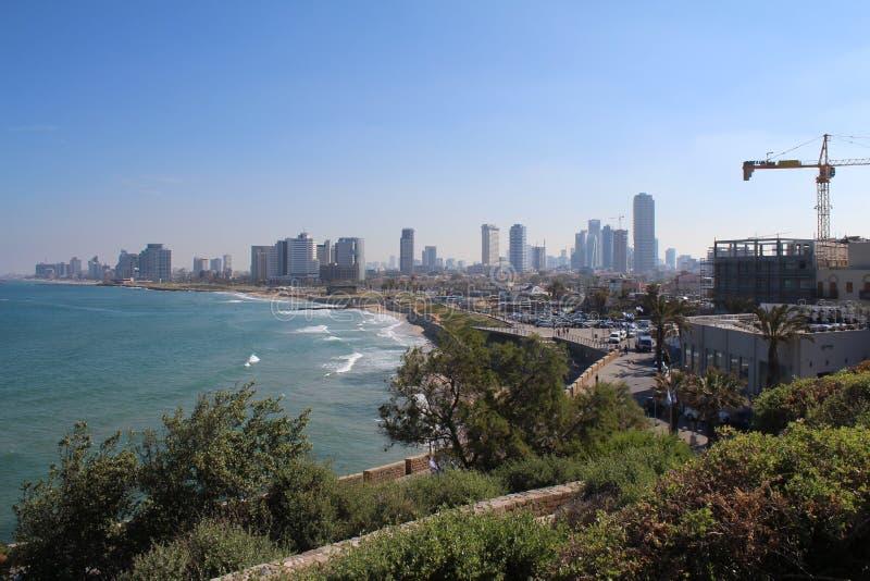 Bella vecchia città, vista del mare in Giaffa, Tel Aviv, Israele fotografia stock libera da diritti