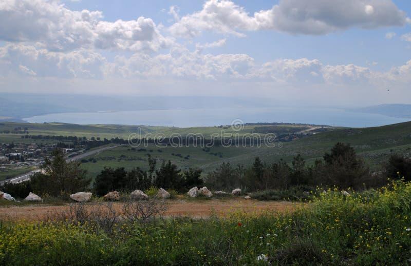 Bella vista al mare della Galilea, Golan Heights fotografie stock libere da diritti