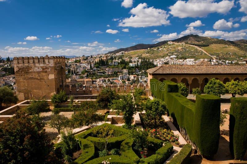 Bella vista dal palazzo di Alhambra a Granada fotografia stock