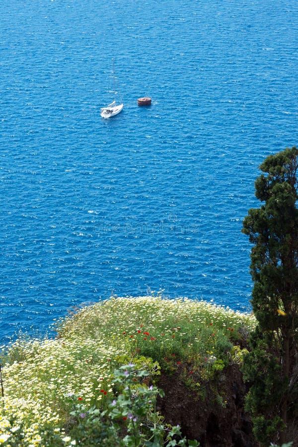 Bella vista del mare, degli yacht e delle montagne coperti di fiori Isola greca di Santorini un giorno soleggiato caldo Viaggio a fotografia stock libera da diritti