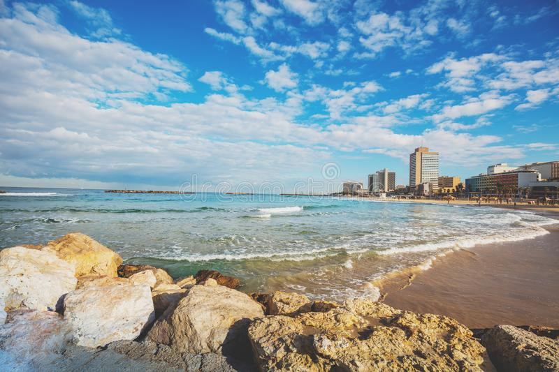 Bella vista dell'argine di Tel Aviv fotografie stock