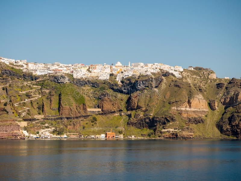 Bella vista dell'isola di Santorini fotografia stock libera da diritti