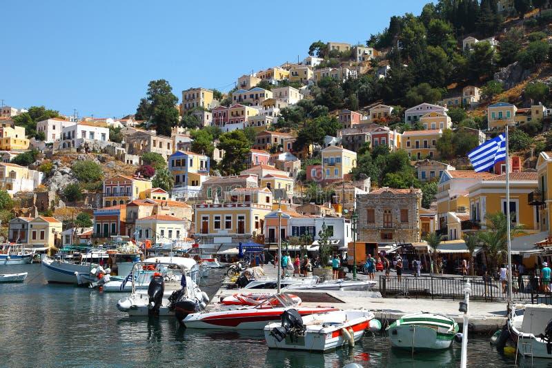 Bella vista dell'isola di Symi in Grecia immagini stock libere da diritti