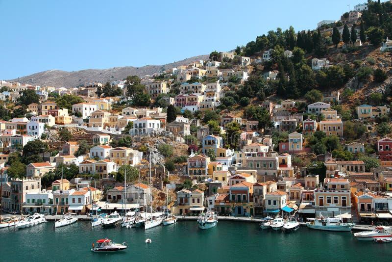 Bella vista dell'isola di Symi in Grecia fotografia stock libera da diritti