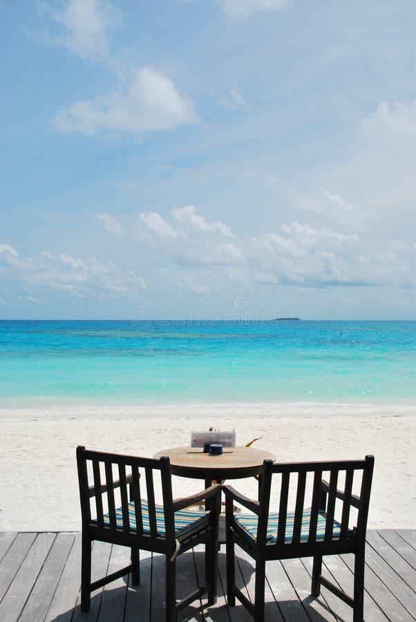 Bella vista della barra della spiaggia nei Maldives fotografia stock libera da diritti